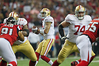 20 January 2013: Quarterback (7) Colin Kaepernick of the San Francisco 49ers drops back to pass against the Atlanta Falcons during the first half of the 49ers 28-24 victory over the Falcons in the NFC Championship Game at the Georgia Dome in Atlanta, GA.