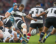 Twickenham, United Kingdom, Tawera KERR-BARLOW, kicking clear, during the Killik Cup Match, Barbarians vs Argentina, RFU Stadium, Twickenham, England,<br /> <br /> Saturday    21/11/2015  <br /> <br /> [Mandatory Credit; Peter Spurrier/Intersport-images]