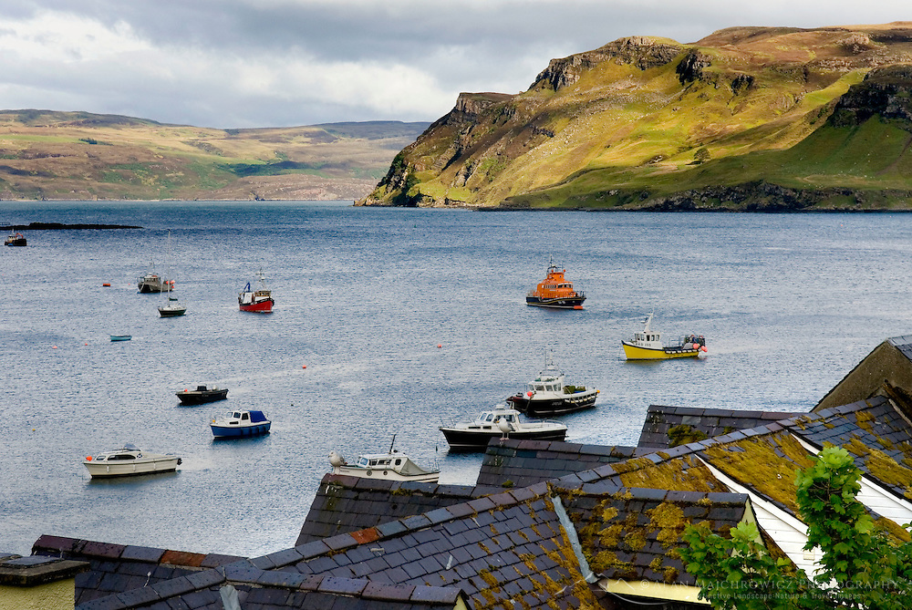 Boats in Harbour of Portree Isle of Skye Scotland