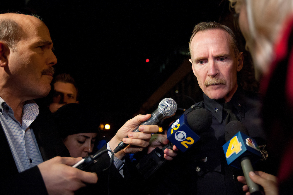 Commander Bob Green of the Los Angeles police department briefs the media on the tactics used by police during Monday mornings Occupy LA protest in Los Angeles, Calif. on November 28, 2011. (Photo by Gabriel Romero ©2011)