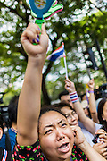 29 NOVEMBER 2013 - BANGKOK, THAILAND: Anti-government protestors cheer and blow their whistles in front of the US Embassy in Bangkok. Several thousand Thai anti-government protestors marched on the US Embassy in Bangkok. They blew whistles and asked the US to honor their efforts to unseat the elected government of Yingluck Shinawatra. The anti-government protestors marched through several parts of Bangkok Friday paralyzing traffic but no clashes were reported, even after a group protestors tried to occupy Army headquarters.         PHOTO BY JACK KURTZ