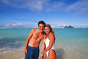 Couple on Beach, Kailua, Oahu, Hawaii, model released