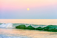Crashing wave with full moon, Two Mile Hollow Beach, East Hampton