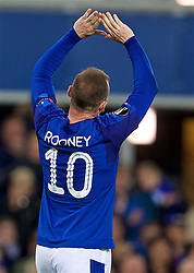 LIVERPOOL, ENGLAND - Thursday, September 28, 2017: Everton's Wayne Rooney celebrates scoring the first equalising goal during the UEFA Europa League Play-Off 1st Leg match between Everton and Apollon Limassol FC at Goodison Park. (Pic by David Rawcliffe/Propaganda)