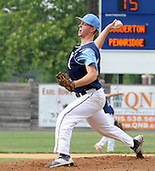 Souderton's Blake Gular throws a pitch against Pennridge in the first inning at Quakertown Memorial Park Monday July 13, 2015 in Quakertown, Pennsylvania.  (Photo by William Thomas Cain)