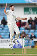 Wicket! James Fuller of Hampshire celebrates after taking the wicket of Tom Kohler-Cadmore of Yorkshire during the opening day of the Specsavers County Champ Div 1 match between Yorkshire County Cricket Club and Hampshire County Cricket Club at Headingley Stadium, Headingley, United Kingdom on 27 May 2019.