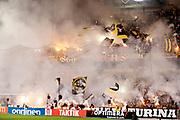STOCKHOLM 2016-08-04<br /> KVAL TILL EUROPA LEAGUE AIK VS PANATHINAIKOS<br /> AIK fans under matchen mellan AIK och Panathinaikos p&aring; Tele2 Arena, torsdag den 4 augusti 2016.<br /> Foto: Nils Petter Nilsson/Ombrello<br /> ***BETALBILD***
