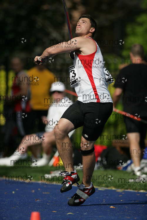 (Toronto, Ontario---25/06/09)   Henry Ferreira competing in men's javelin qualifying at the 2009 Canadian National Track and field Championships. Photograph copyright Sean Burges / Mundo Sport Images, 2009. www.mundosportimages.com / www.msievents.