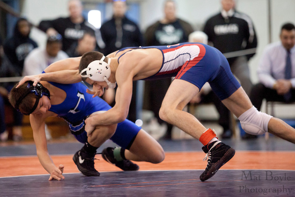 Mike Dimeo of Hammonton High School vs. Dylan LaPalomento of Washington Township High School during the District 30 Wrestling semifinal match in the 113lb weight class at Overbrook High School on February 18, 2012. (photo / Mat Boyle)