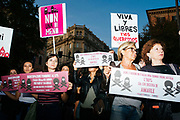 People take part in a 'Not one less' protest highlighting voilence against women. Rome 28 September 2017. Christian Mantuano / OneShot