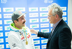 Press conference of Filip Flisar of Slovenia after winning gold at World Championship in Ski cross 2015 in Kreischberg (at picture with Branko Krasovec), on January 27, 2015 in SZS, Ljubljana, Slovenia. Photo by Vid Ponikvar / Sportida