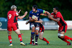 Josh Beaumont of Sale Sharks is tackled by Hamish Watson and Nasi Manu of Edinburgh Rugby - Mandatory by-line: Matt McNulty/JMP - 19 August 2016 - RUGBY - Heywood Road Stadium - Manchester, England - Sale Sharks v Edinburgh Rugby - Pre-Season Friendly