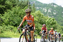 Evelyn Stevens follows in the wheels of Mara Abbott up the biggest climb of the day at Giro Rosa 2016 - Stage 6. A 118.6 km road race from Andora to Alassio, Italy on July 7th 2016.