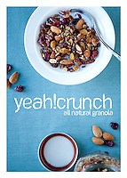 The front side of a recipe card for healthy all-natural granola  created by St. Louis Photographer Jonathan Gayman.