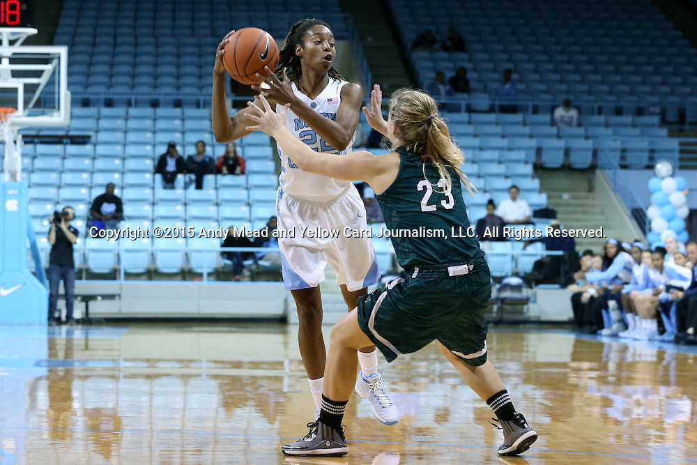09 November 2015: North Carolina's N'Dea Bryant (22) and Mount Olive's Rachel Fehl. The University of North Carolina Tar Heels hosted the University of Mount Olive Trojans at Carmichael Arena in Chapel Hill, North Carolina in a 2015-16 NCAA Women's Basketball exhibition game. UNC won the game 99-45.
