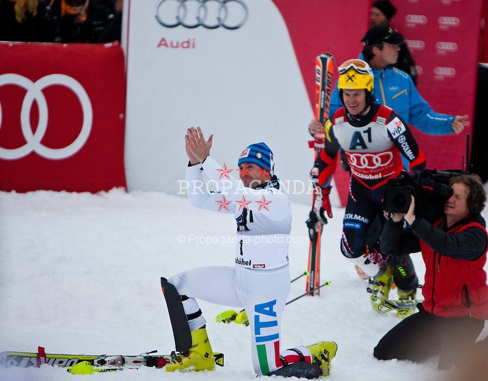 22.01.2012, Ganslernhang, Kitzbuehel, AUT, FIS Weltcup Ski Alpin, 72. Hahnenkammrennen, Herren, Slalom, im Bild Cristian Deville (ITA, Platz 1) // first place Cristian Deville of Italy during Slalom race of 72th Hahnenkammrace of FIS Ski Alpine World Cup at 'Ganslernhang' course in Kitzbuhel, Austria on 2012/01/22. EXPA Pictures © 2012, PhotoCredit: EXPA/ Markus Casna