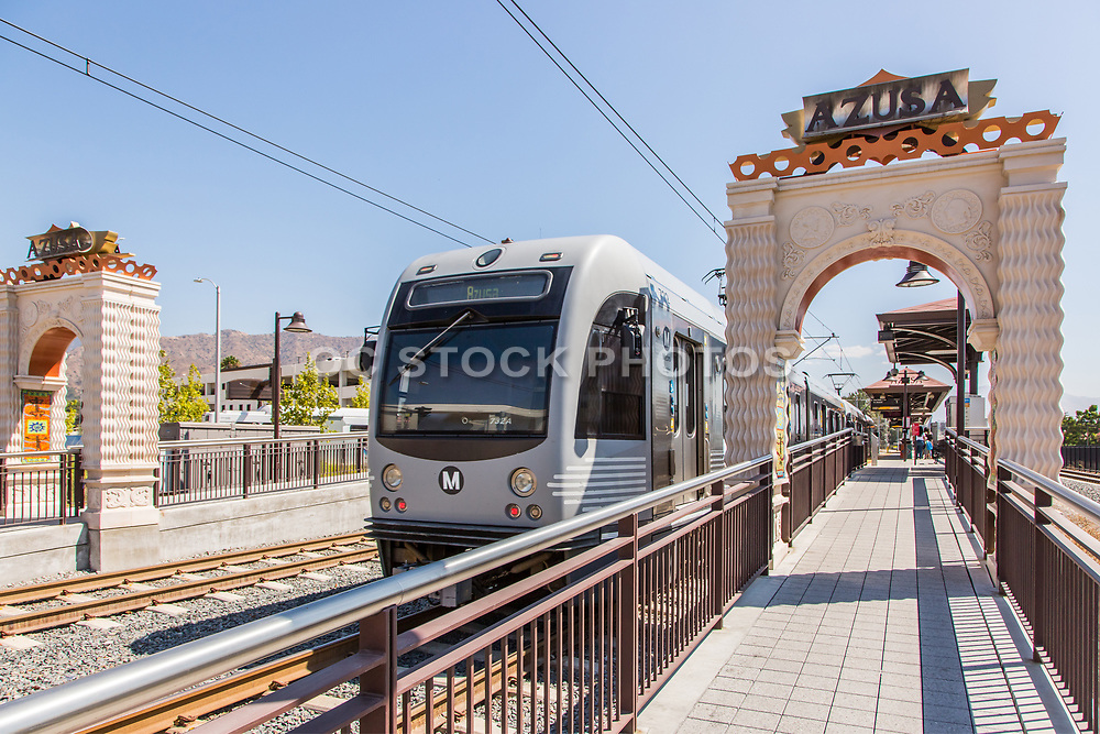 Metro Light Rail Pulling into Downtown Azusa Station