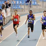 Raphael Kapenda (#47) sur le 200m juniors lors du Championnat de Belgique indoor Juniors et Espoirs qui s'est déroulé à Gand (Topsporthal) le 04/03/2017.