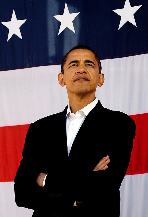 Senator Barack Obama looks presidential during a campaing rally in Milwaukee, WI.