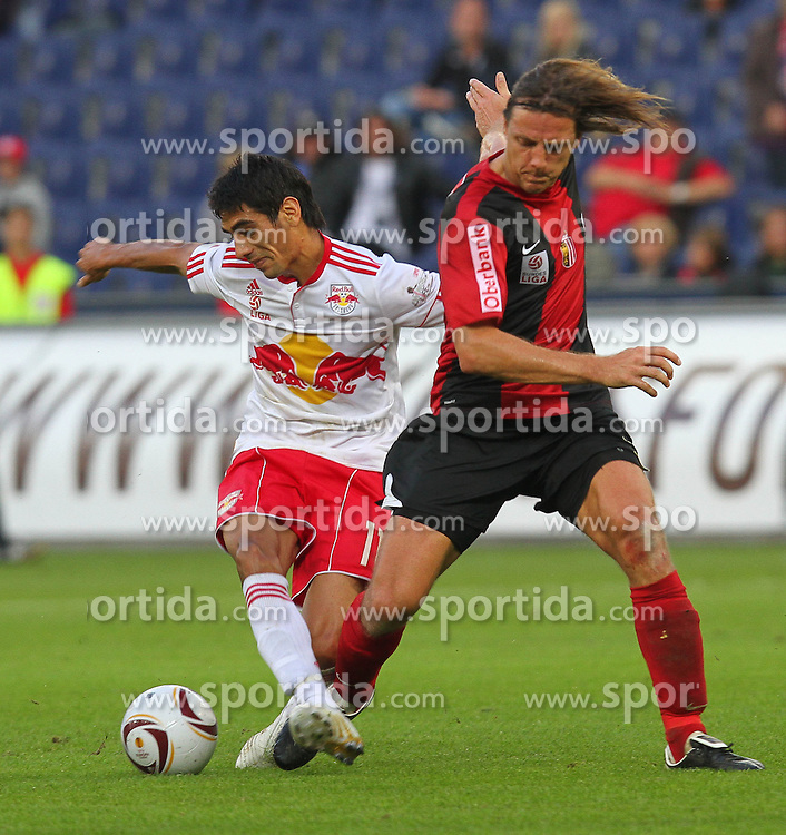10.09.2010, Red Bull Arena, Salzburg, AUT, 1. FBL, FC Red Bull Salzburg vs Lask Linz, im Bild Rene Aufhauser, (Lask Linz, Mittelfeld, #06), Gonzalo Zarate, (FC Red Bull Salzburg, Sturm, #11), EXPA Pictures © 2010, PhotoCredit: EXPA/ D. Scharinger / SPORTIDA PHOTO AGENCY