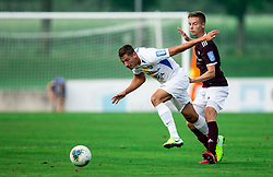 Gašper Koritnik of Celje vs Tilen Mlakar of Triglav during football match between NK Triglav and NK Celje in 7th Round of Prva liga Telekom Slovenije 2019/20, on August 25, 2019 in Sports park, Kranj, Slovenia. Photo by Vid Ponikvar / Sportida