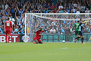 Stephane Zubar puts into his own net during the Sky Bet League 2 match between Wycombe Wanderers and York City at Adams Park, High Wycombe, England on 8 August 2015. Photo by Simon Davies.