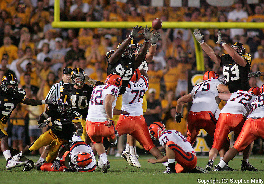 08 SEPTEMBER 2007: Iowa defensive end Kenny Iwebema (92) blocks a field goal by Syracuse in Iowa's 35-0 win over Syracuse at Kinnick Stadium in Iowa City, Iowa on September 8, 2007.