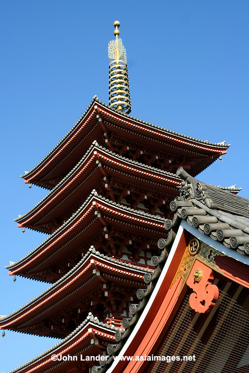 Five story pagoda at Sensoji - Tokyo's oldest temple and one of its most significant. Formerly associated with the Tendai sect, it became independent after World War II. Adjacent to the temple is  Asakusa Shrine.