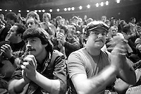 Miners applauding at a Sheffield rally during the 1984-85 miners strike. 8 November 1984...© Martin Jenkinson martin@pressphotos.co.uk  NUJ recommended terms & conditions apply. Copyright Designs & Patents Act 1988. Moral rights asserted credit required. No part of this photo to be stored, reproduced, manipulated or transmitted by any means without prior written permission.
