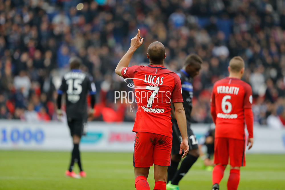 Lucas Rodrigues Moura da Silva (psg) scored a goal and celebrated it, Marco Verratti (psg) during the French championship Ligue 1 football match between Paris Saint-Germain (PSG) and Bastia on May 6, 2017 at Parc des Princes Stadium in Paris, France - Photo Stephane Allaman / ProSportsImages / DPPI