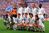 Fotball<br /> Frankrike<br /> Foto: imago/Digitalsport<br /> NORWAY ONLY<br /> <br /> 26.05.1993<br /> Lagbilde Olympique Marseille, hi.v.li.: Torwart Fabien Barthez, Franck Sauzee, Marcel Desailly, Rudi Völler, Basile Boli, vorn: Jocelyn Angloma, Abedi Pele, Didier Deschamps, Alen Boksic, Jean Jacques Eydelie, Eric Di Meco