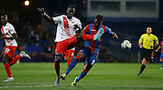 Fraiser Campbell closing down his man during the Capital One Cup match between Crystal Palace and Charlton Athletic at Selhurst Park, London, England on 23 September 2015. Photo by Michael Hulf.