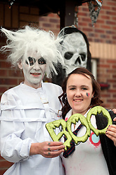 Guinness Northern Counties Housing Associations Godley Street  Scheme Hold a Halloween Street Party Darren Broadhurst with daughter Hayley..30 October 2010 .Images © Paul David Drabble