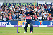 Alex Hales of England hits the ball to the boundary for four runs during the One Day International match between England and West Indies at the Brightside County Ground, Bristol, United Kingdom on 24 September 2017. Photo by Graham Hunt.