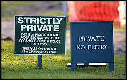 Private signs at the entrance to Prince William & Kate's new Norfolk Home at Anmer Hall, Norfolk, United Kingdom, The building is having building work done they have a new roof put on before they move in. Roofers renovating the Norfolk mansion are replacing old, weathered tiles with garish red ones not in keeping with the 1800s building. Sunday, 22nd December 2013. Picture by Andrew Parsons / i-Images
