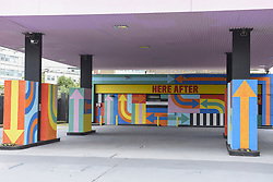June 1, 2017 - London, UK - London, UK.  ''Here After'', a multi-coloured artwork adapting the colours of a television test card, by designers Craig & Karl, has been unveiled at a petrol station opposite the former BBC Television Centre in Wood Lane. (Credit Image: © Stephen Chung/London News Pictures via ZUMA Wire)