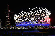Fireworks explode over the Olympic Stadium during the Opening Ceremony at the London 2012 Summer Olympics on July 27, 2012 in Stratford, London.  (UPI)