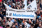 """Rome jan 30th 2016, people gather at Rome's Circus Maximus. Thousands of people were gathering in Rome's Circus Maximus for a pro-family protest that opposes proposed legislation permitting civil unions for same-sex couples and legal recognition for their families. In the picture protester with a banner: """"The only civil union is marriage"""""""