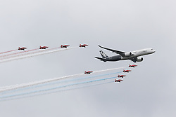 RAF Red Arrows, Airbus A350, Farnborough International Airshow, London Farnborough Airport UK, 15 July 2016, Photo by Richard Goldschmidt
