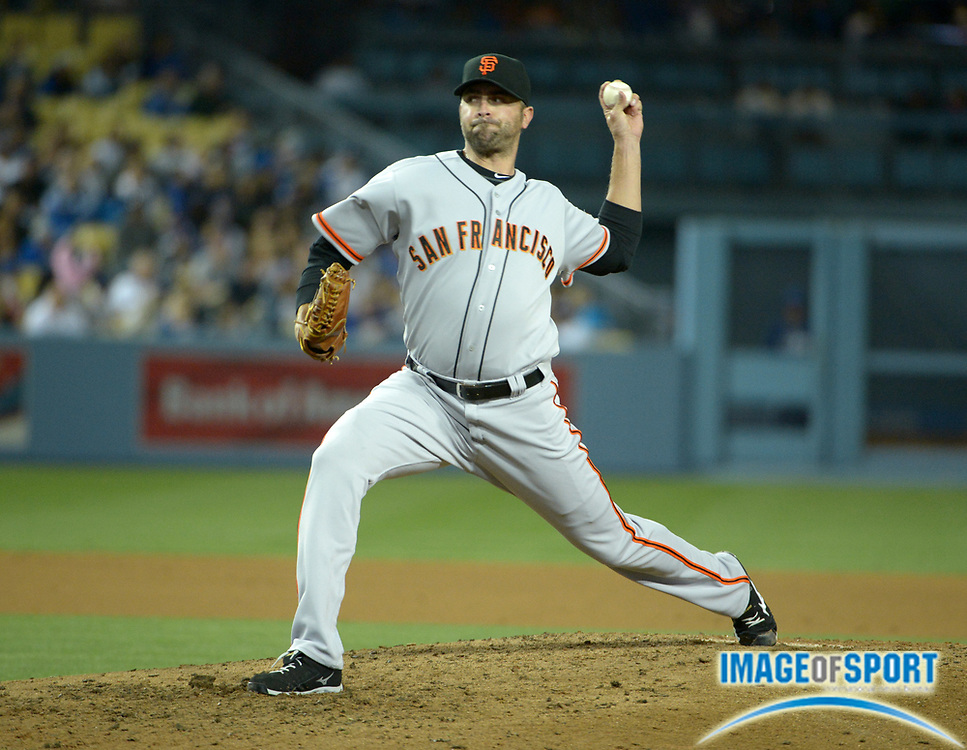 May 8, 2014; Los Angeles, CA, USA; San Francisco Giants reliever Jeremy Affedlt delivers a pitch against the Los Angeles Dodgers at Dodger Stadium. The Giants defeated the Dodgers 3-1 in 10 innings.