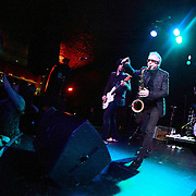 "Mars Williams (center) and Rich Good of The Psychedelic Furs perform on May 8, 2011 in support of the 30th Anniversary of ""Talk Talk Talk"" at the Showbox Market in Seattle, Washington"