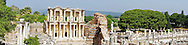 A panorama of the façade of the library of Celsus amid the ruins of the ancient Greek city of Ephesus, in present day Turkey and of Greco-Roman origin