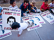07 FEBRUARY 2011 - PHOENIX, AZ: The children of immigrants and their parents sit in front of the Arizona Capitol in support of birthright citizenship and the 14th Amendment Monday, February 7. The Arizona State Legislature, led by the State Senate is debating the 14th Amendment, which would bar US citizenship for the children of undocumented immigrants born in the United States. The bill has broad support among Republicans, who are the majority party, in the state legislature but not among Democrats. The law is also very unpopular in the state's Latino and immigrant communities.       Photo by Jack Kurtz