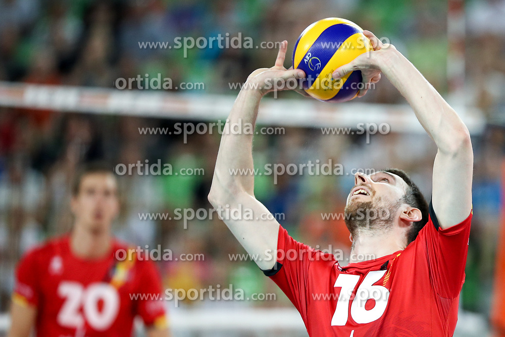Matthias Valkiers of Belgium during volleyball match between National teams of Slovenia and Belgium in 2nd Round of 2018 FIVB Volleyball Men's World Championship qualification, on May 28, 2017 in Arena Stozice, Ljubljana, Slovenia. Photo by Morgan Kristan / Sportida