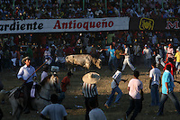 A bull runs loose in the ring during the annual Corralejas in Sincelejo, Colombia on Saturday, January 19, 2008. The corraleja, a bullfighting ritual in northern Colombia pitting hundreds of amateur matadors, many in advanced stages of inebriation, against a 900-pound bull. Regarded in other parts of Colombia as a bizarre spectacle, the corralejas are passionately defended by people of the northern savannas, an impoverished region. (Photo/Scott Dalton).