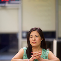 "GREENVILLE, SOUTH CAROLINA:  Linn Nguyen, 40, a nail salon employee, supports Hillary Clinton.  Nguyen said, ""Thirteen years ago I moved from Vietnam.  I became a citizen and love being an American, but it can be a scary place to move to.  There's a lot of violence.  Hillary Clinton welcomes immigrants.  She has good ideas for the whole country."""