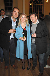 Left to right, BARNABY PARKER, HELEN PARK-WEIR and DR DAVID GRIMSHAW at a lecture about a record-breaking trip by Kiting to the Centre of Antarctica by Henry Cookson, Rupert Longsdon and Rory Sweet held at the Royal Geographical Society on 31st October 2007.<br />