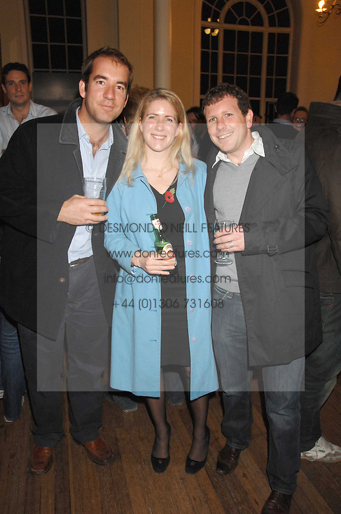 Left to right, BARNABY PARKER, HELEN PARK-WEIR and DR DAVID GRIMSHAW at a lecture about a record-breaking trip by Kiting to the Centre of Antarctica by Henry Cookson, Rupert Longsdon and Rory Sweet held at the Royal Geographical Society on 31st October 2007.<br /><br />NON EXCLUSIVE - WORLD RIGHTS