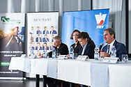 """Warsaw, Poland - 2017 April 19: (R) Mr David Haggerty - ITF President speaks while press conference during official visit of International Tennis Federation (ITF) at """"Orzel"""" Tennis Club  on April 19, 2017 in Warsaw, Poland.<br /> <br /> Mandatory credit:<br /> Photo by © Adam Nurkiewicz / Mediasport<br /> <br /> Adam Nurkiewicz declares that he has no rights to the image of people at the photographs of his authorship.<br /> <br /> Picture also available in RAW (NEF) or TIFF format on special request.<br /> <br /> Any editorial, commercial or promotional use requires written permission from the author of image."""