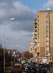 PRISTINA, KOSOVO - DECEMBER 14- bloki s satelitskimi antenami